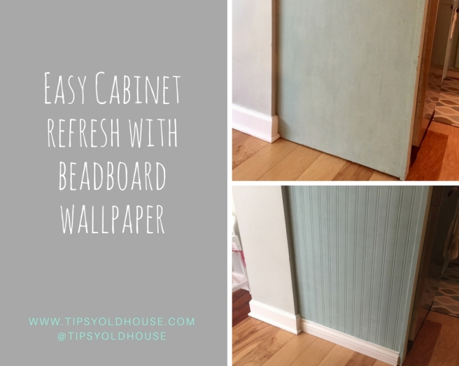 Cabinet refresh with beadboard wallpaper