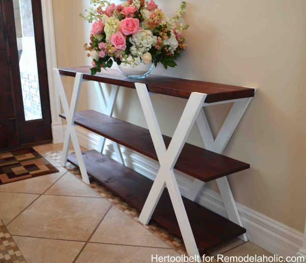 DIY-Double-X-console-table